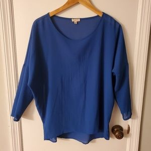 Lily White Blue Dolman 3/4 Sleeve Sheer Top